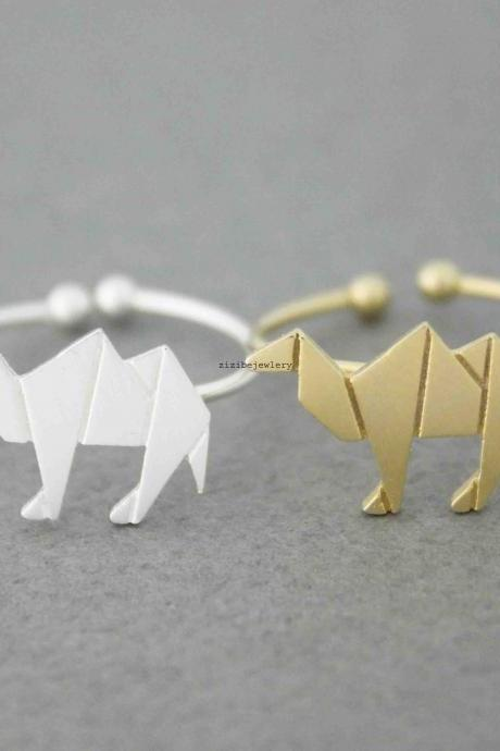 Cute Origami Camel adjustable Ring in silver/ gold, R0545G