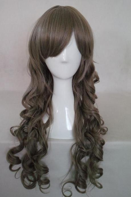 Japanese anime cosplay lolitaHarajuku daily magnolia dark gray brown fluffy Wig