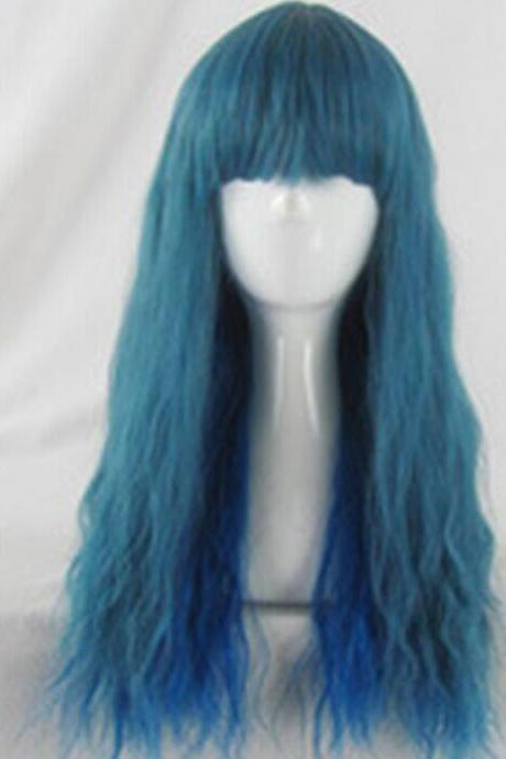 Japanese Harajuku blue green mix curl Style Cosplay wig party wig