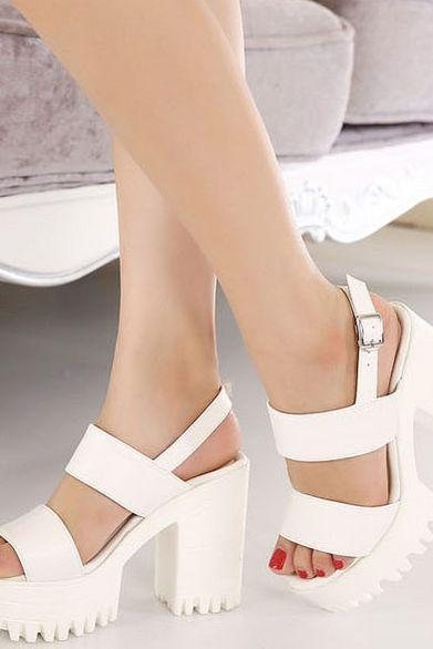 White Double Strap Chunky Heel Sandals
