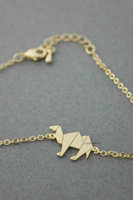 Cute Origami Camel charm Bracelet in silver/ gold, B0548G