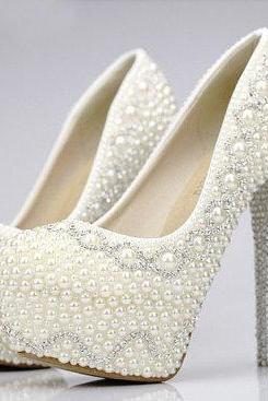 Pearl High Heels Party Prom Shoes Rhinestone White Crystal Bridal Wedding Shoes Lady Formal Dress Shoes Party Prom Shoes