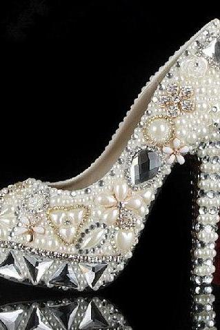 Fashion Ivory Pearl Dress Shoes Peep Toe Women Rhinestone Bridal Shoes Wedding High Heel Shoes Party Prom Shoes