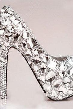 Luxury Bridal Shoes silver crystals mix gems red soles shoes high heels wedding shoes Sparkling Formal Dress Shoes