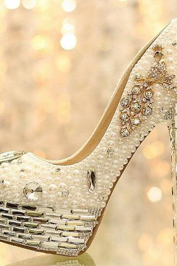 Rhinestone Peacock Design Crystal Pearl Women High Heels Valentine Pumps Party Bridal Shoes Wedding Shoes