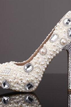 Luxurious Elegant Wedding Bridal Shoes Rhinestone with Imitation Pearl 12cm Super High Heel Wedding Dress Shoes Ecru White