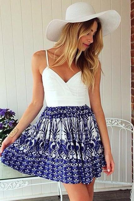 Spaghetti Strap Blue White Print Dress