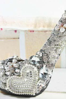 Elegant Wedding Bridal Shoes heart Rhinestone with Imitation Pearl floral High Heel women Wedding Dress Shoes