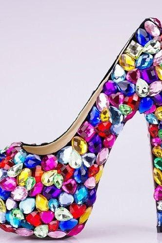 Candy Crystal Glitter Fashion Multicolor Wedding Shoes Ladies Platform High Heel Evening Shoes Nightclub Dancing Dress Shoes
