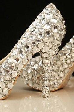 New Arrival Elegant Diamond Wedding Shoes Fashion Crystal High Heels Glittering Platform Women Pumps Banquet Prom Shoe
