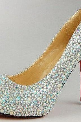 Dazzling AB Strass Crystal High Platform Shoes diamond Rhinestone bridal accessories wedding shoes Party Prom High Heels
