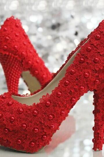 Fashion Red Lace Flower wedding Bridal shoes Pearl Girl Dress Shoes Party Prom Shoes for Wedding Anniversary Party