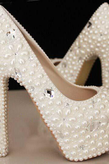 Custom design shoes Make plus size pearl floral and crystals bridal wedding Pumps shoes Lady Shoes Party Prom High Heels