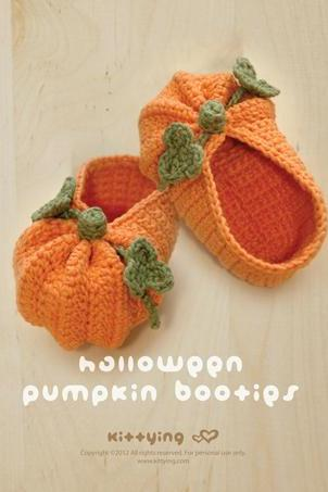 Crochet Pattern Halloween Pumpkins Baby Booties Preemie Socks Newborn Shoes Baby Slippers Halloween Pumpkins Crochet Pattern