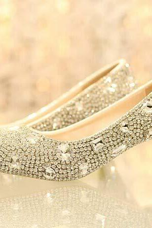 Comfortable Bling Low Heel Rhinestone Bridal Wedding Shoes Women Crystal Performance Shoes Diamond Lady Party Prom Shoes