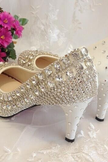 Red bottom crystal Wedding Shoes High Heels Rhinestone Bridal Shoes Platform Pumps bridesmaid shoes