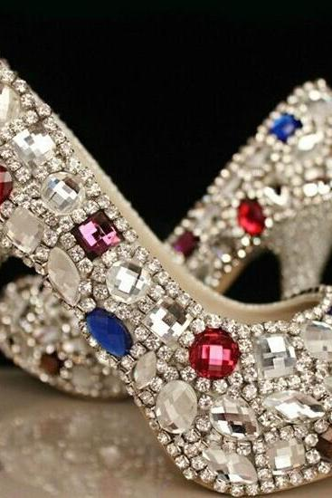 Luxury Diamond Bridal shoes Weddding Shoes high heels small rhinestone platform big crystal Prom pumps