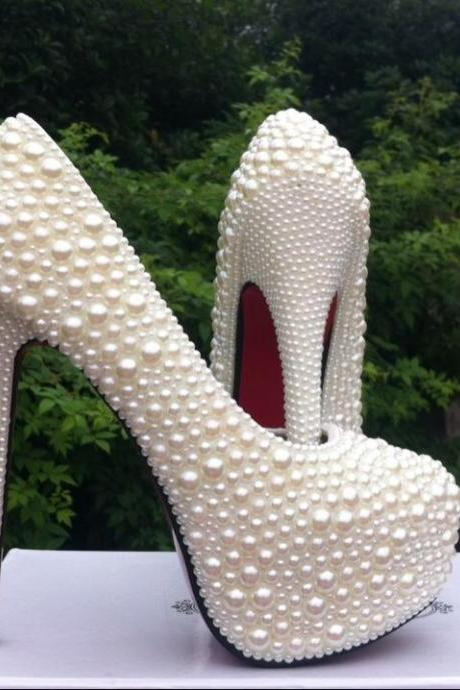 Red soles shoes High Quality Luxurious White Imitation Pearl Wedding Shoes High Heel Shoes for Women Honeymoon