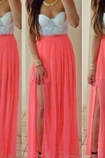 Strapless lace chiffon dress