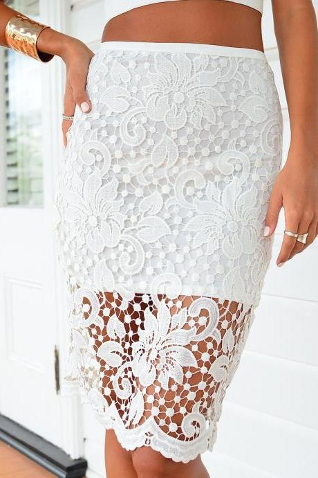 Lace Knee Length Pencil Skirt with High Slit