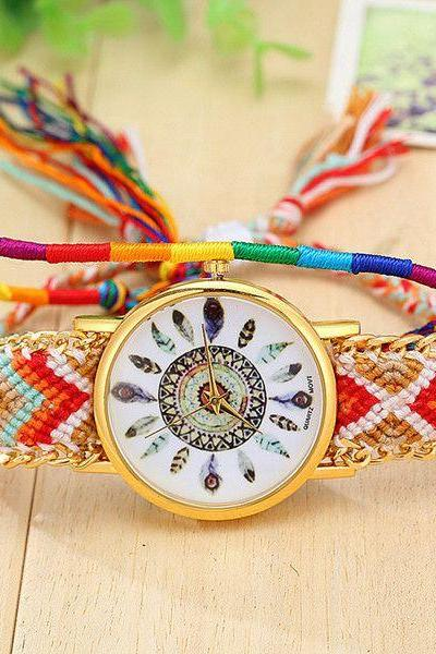 Indian style fashion cloth band watch
