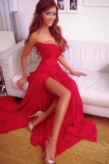 Sexy Evening Dress, 2015 Prom Dress,Chiffon Evening Dresses, Red Prom Dresses, Side Slit Evening Gowns, Custom Made Party Dresses, Floor Length Formal Dress