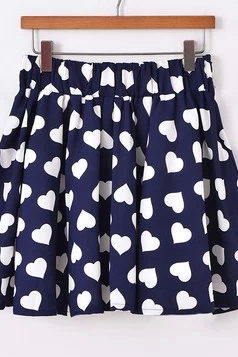 Lovely Heart Dark Bule Chiffon Skirt