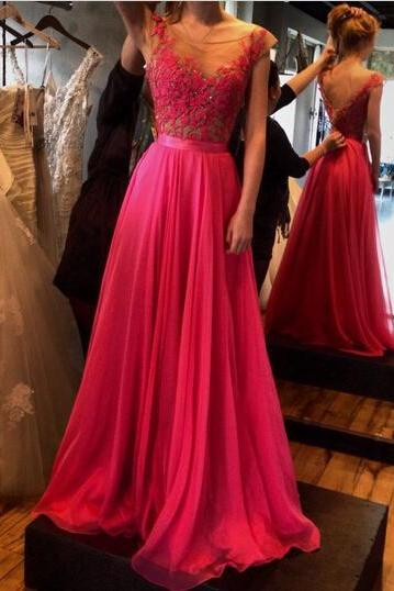 See-through misunderstanding dress, neckline appliques prom dresses, chiffon red misunderstanding dresses, lace prom dresses
