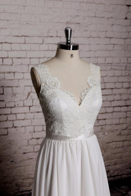 2015 new Sweetheart Wedding Gown, Outside Bridal Gown, Chiffon Wedding Dress, A-line Wedding Dress