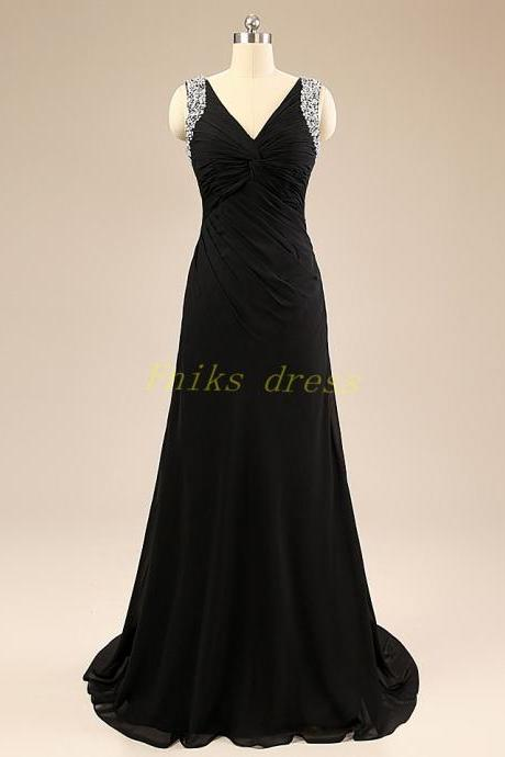 2015 Long Evening Dress, Sexy V Neck Prom Dress, A Line Party Dress, Plus Size Evening Dress, Beaded Prom Dress, Plus Size Evening Dress
