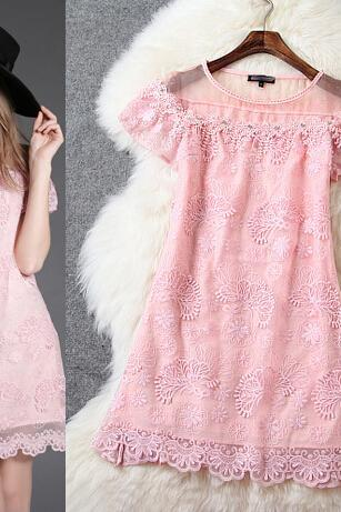 Pink Organza Embroidery Beads Dress