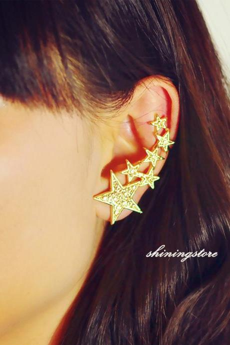 Supper star ear cuff ,Gold ear cuff,Topaz zircon earrings ,Boho ear cuff ,Punk ear cuff