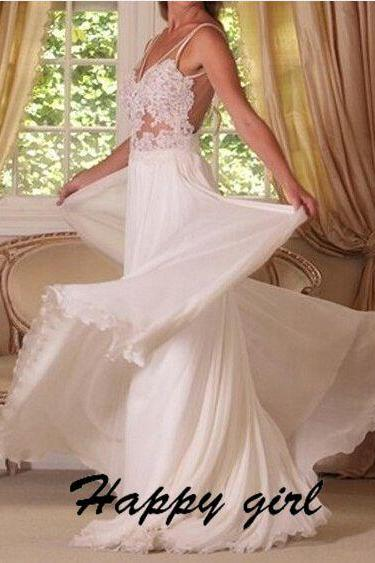 New Wedding Dresses, Beach Wedding Dresses, Wedding Dresses 2015, V-Neck Wedding Dresses, Floor-Length Wedding Dresses, A-Line Wedding Dresses, Applique Wedding Dresses,Backless Wedding Dresses, White Wedding Dresses, Custom Wedding Dresses