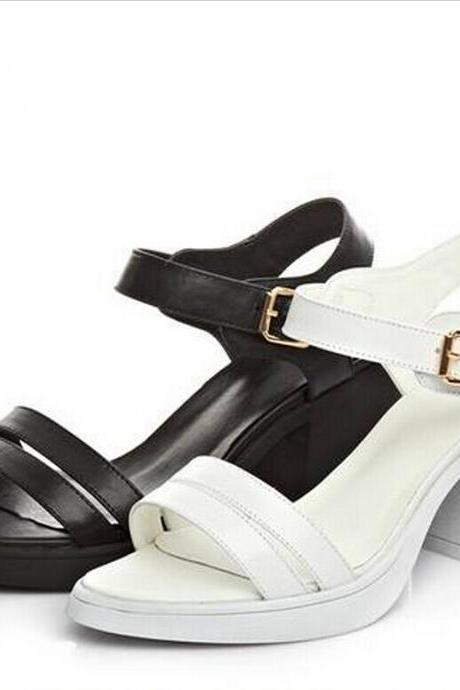 Open-Toe Ankle Strap Low Chunky Heels