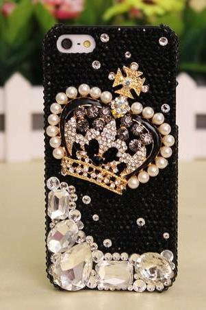 Crystal Crown diamond Hard Back Mobile phone Case Cover black Rhinestone Case Cover for iphone 6s plus case,iphone 6c case,samsung galaxy s6 edge case,samsung galaxy note5 case iPhone 4 4s 5 7plus 5s 6 6 plus Samsung galaxy s7 s4 s5 s6 note10 4