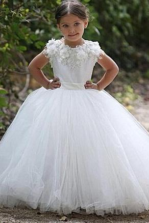 Little Girls Wedding Dresses, Flower Girls Dresses, 2015 Ball Gown Little Girls Dress, White Girls Dress For Wedding, Tulle Girls Dresses