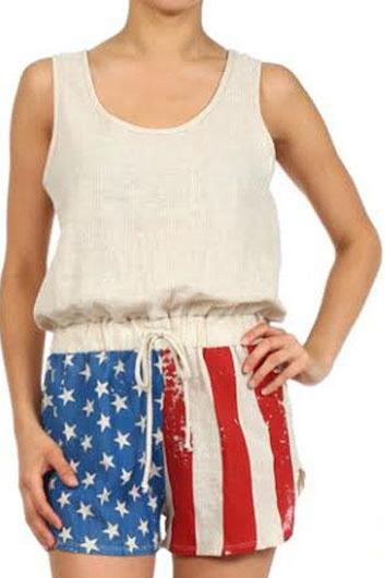 Free shipping Drawstring Waist Sleeveless United States Flag Print Romper