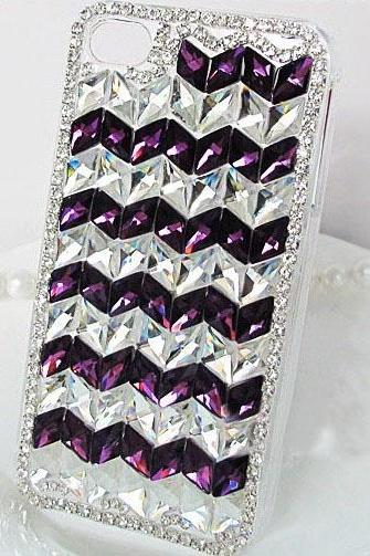 6s 6c plus Fashion Purple White Lozenge diamond Hard Back Mobile phone Case Cover bling Rhinestone Case Cover for iPhone 4 4s 5 7plus 5s 6 6 plus Samsung galaxy s7 s4 s5 s6 note10 4