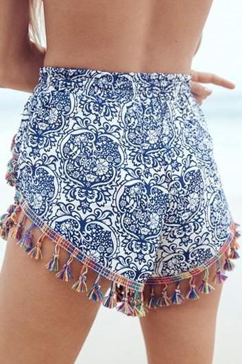 Free shipping Porcelain Print High Waist Fringe Embellished Loose Shorts