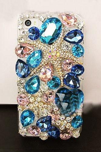 6c 6s plus Luxury Starfish diamond Hard Back Mobile phone Case Cover bling Rhinestone Case Cover for iPhone 4 4s 5 7plus 5s 6 6 plus Samsung galaxy s7 s4 s5 s6 note8.0 4