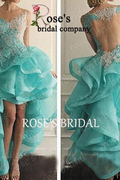 High Low Lace Sexy Prom Dresses, Off Shoulder Turquoise Prom Dress, Organza Prom Gowns, Long Evening Dress With Tiers, Vestido De Festa, Party Dresses 2016