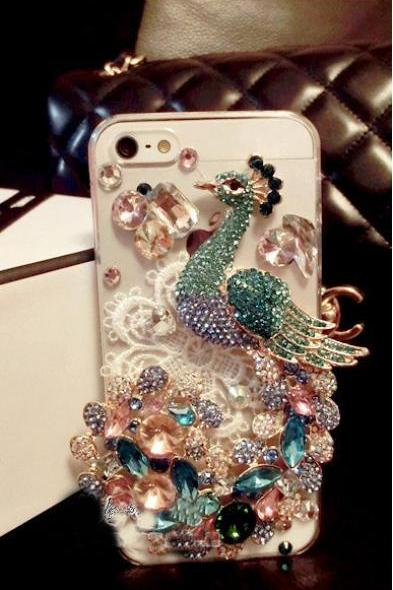 6c 6s plus Luxury diamond Peacock Hard Back Mobile phone Case Cover girly Rhinestone Case Cover for iPhone 4 4s 5 7plus 5s 6 6 plus Samsung galaxy s7 s4 s5 s6 note10 4