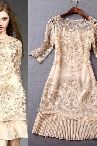 Gold Embroidery Pleated Evening Dress Dress