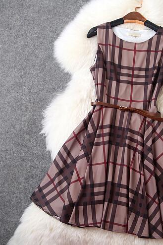 Fashion Plaid Cultivate One's Morality Show Thin Dress Dress