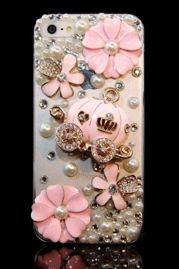 6c 6s plus 2015 HOT ! Handmade pink Pumpkin flowers Hard Back Mobile phone Case Cover Rhinestone girly Case Cover for iPhone 4 4s 5 7plus 5s 6 6 plus Samsung galaxy s7 s4 s5 s6 note10 4