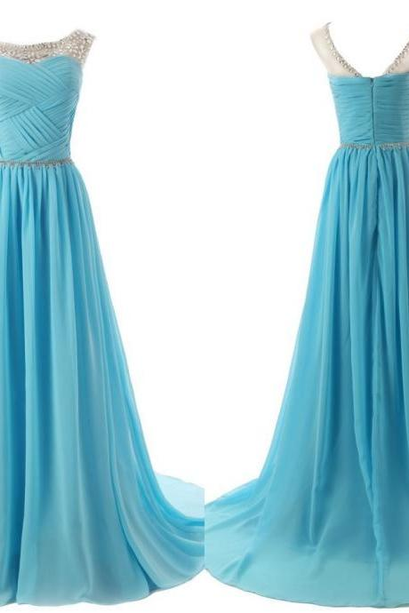 The Chiffon charming Prom Dresses, Floor-Length Evening Dresses, Prom Dresses, A-Line Real Made Prom Dresses On Sale,
