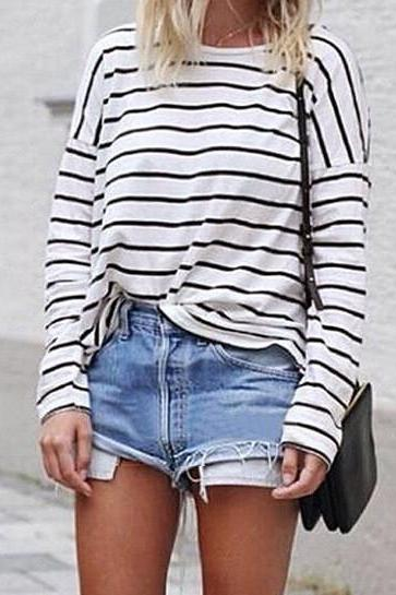 Black Stripes White Long Sleeve Crew Neck Shirt