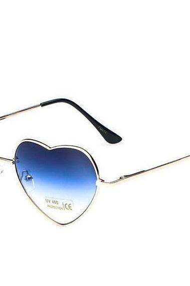 Summer cute heart fashion blue beach sunglasses