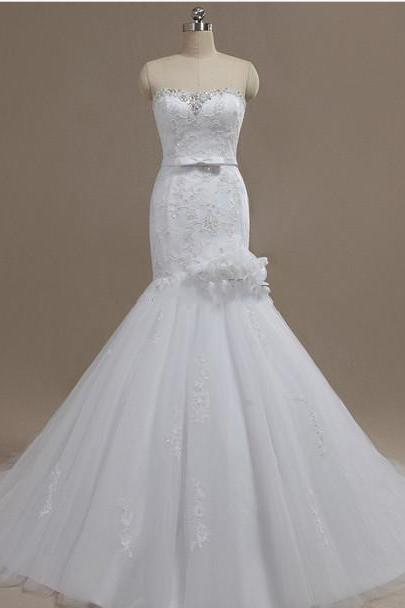 New Arrival Wedding Dress,Wedding Dresses,Lace Wedding Dress,Sexy Wedding Dress,Floor-length Wedding Dress,Mermaid Wedding Dress,Sleeveless wedding Dress,The Charming Wedding Dress,Lace-up Wedding Dress,2015 wedding dresses
