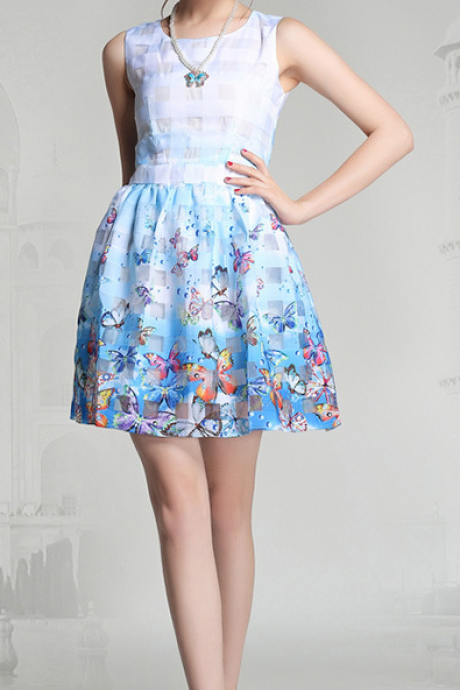Fashion butterfly printed sleeveless dresses